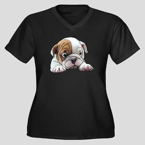 Bulldog Puppy Art Portrait Plus Size T-Shirt