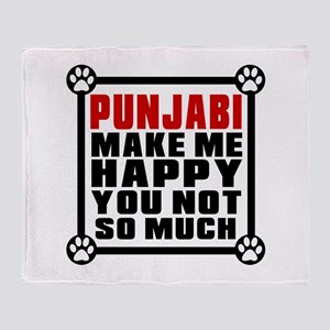 Punjabi Cat Make Me Happy Throw Blanket
