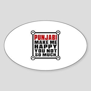Punjabi Cat Make Me Happy Sticker (Oval)
