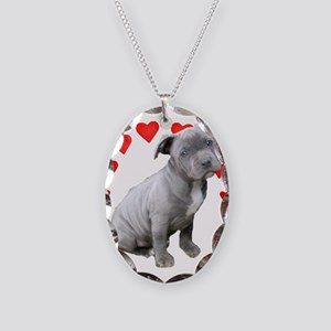 Valentine's Pitbull Puppy Necklace Oval Charm