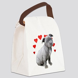 Valentine's Pitbull Puppy Canvas Lunch Bag