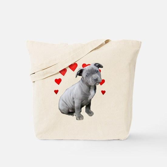 Valentine's Pitbull Puppy Tote Bag