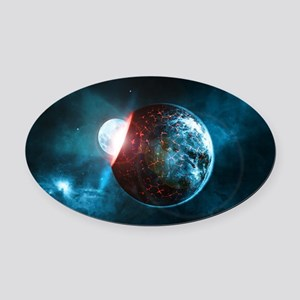 Moon into a Planet Oval Car Magnet