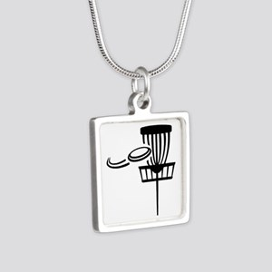 Disc golf Silver Square Necklace