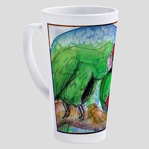 Parrots! Bird pair, art! 17 oz Latte Mug