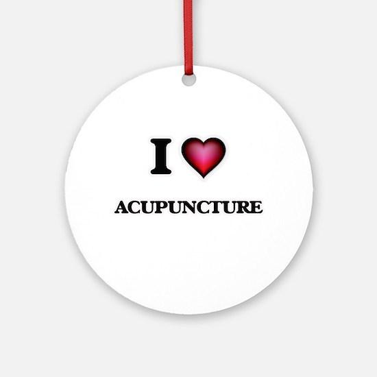 I Love Acupuncture Round Ornament