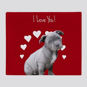 Love You Pitbull Puppy Throw Blanket