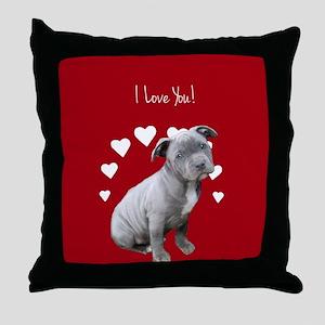 Love You Pitbull Puppy Throw Pillow