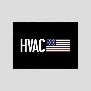 HVAC: HVAC & American Flag 5'x7'Area Rug