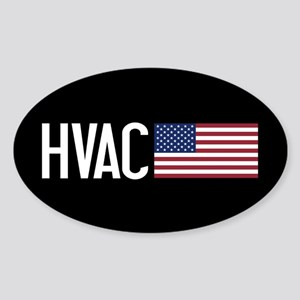 HVAC: HVAC & American Flag Sticker (Oval)