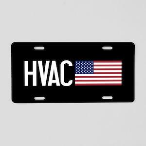 HVAC: HVAC & American Flag Aluminum License Plate