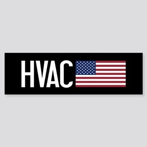 HVAC: HVAC & American Flag Sticker (Bumper)