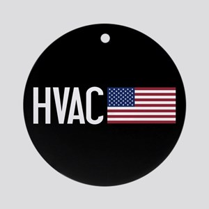 HVAC: HVAC & American Flag Round Ornament