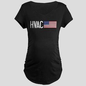 HVAC: HVAC & American Flag Maternity Dark T-Shirt