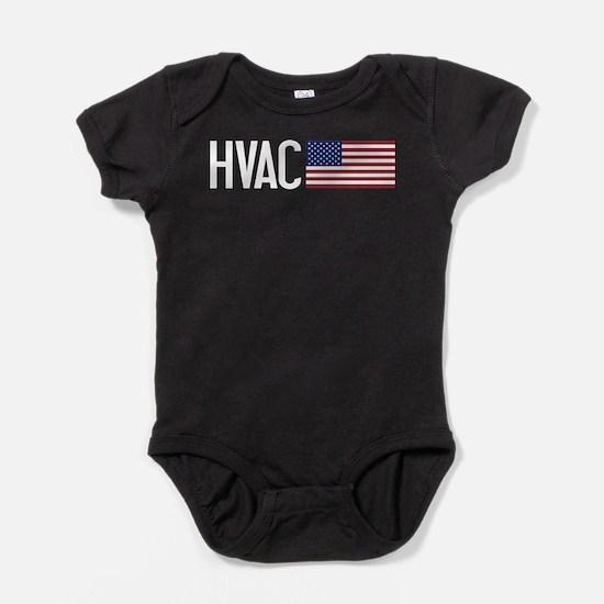 HVAC: HVAC & American Flag Baby Bodysuit