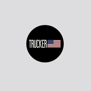 Trucker: Trucker & American Flag Mini Button