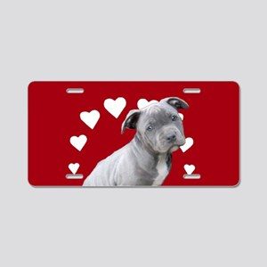 Love You Pitbull Puppy Aluminum License Plate