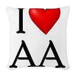 2-i-love-aa Woven Throw Pillow