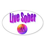 live-sober-aa Sticker (Oval)