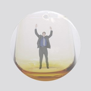 man-in-glass Round Ornament