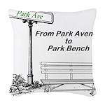park-avenue-park-bench Woven Throw Pillow