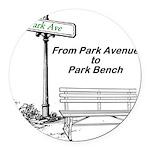 park-avenue-park-bench Round Car Magnet