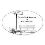 park-avenue-park-bench Sticker (Oval 10 pk)