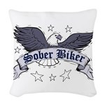 sober-biker Woven Throw Pillow