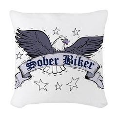 sober-biker Woven Throw Pillow