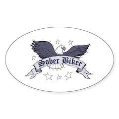 sober-biker Sticker (Oval 50 pk)