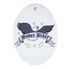 sober-biker Oval Ornament