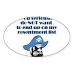 resentment-pirate Sticker (Oval 10 pk)