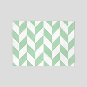 Mint Green Herringbone 5'x7'Area Rug