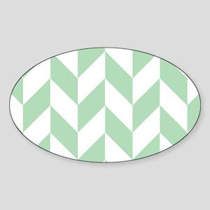Mint Green Herringbone Sticker (Oval)