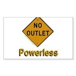 No Outlet Powerless Sticker (Rectangle 50 pk)