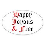 Happy Joyous Free Sticker (Oval 10 pk)