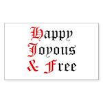 Happy Joyous Free Sticker (Rectangle)