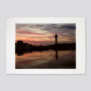 Dobbins Landing Sunset, Erie, PA 5'x7'Area Rug