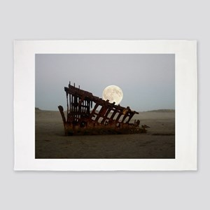 Full Moon Over Peter Iredale ShipWr 5'x7'Area Rug