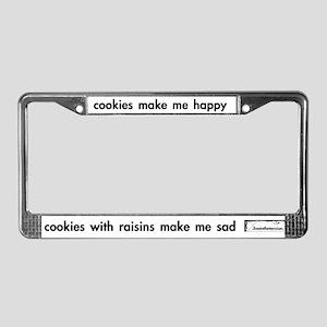 'cookies & raisins' license plate frame