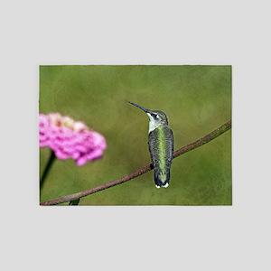 Hummingbird and Zinnia 5'x7'Area Rug