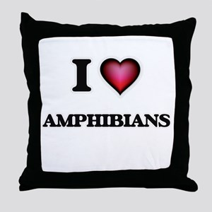 I Love Amphibians Throw Pillow