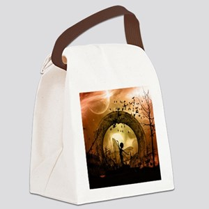 Cute dancing fairy in the sunset Canvas Lunch Bag