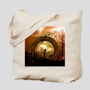 Cute dancing fairy in the sunset Tote Bag