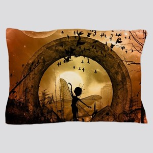 Cute dancing fairy in the sunset Pillow Case