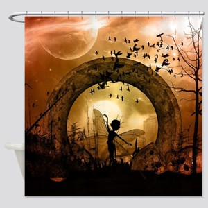 Cute dancing fairy in the sunset Shower Curtain