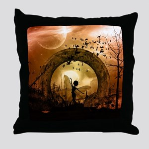 Cute dancing fairy in the sunset Throw Pillow