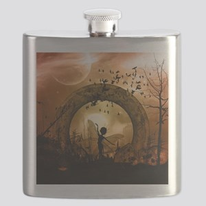 Cute dancing fairy in the sunset Flask