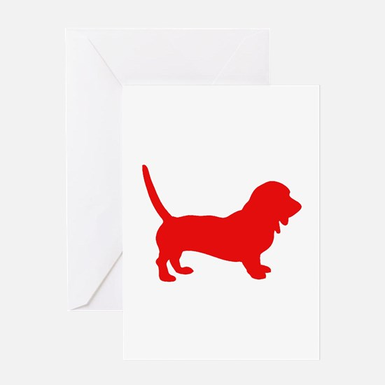 Basset Hound 2 Red Greeting Cards