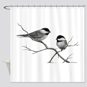 chickadee song bird Shower Curtain
